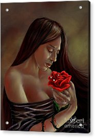 Acrylic Print featuring the painting Tears, Blood, Diamonds by Amyla Silverflame