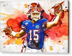 Tebow Splash Td Acrylic Print by John Farr