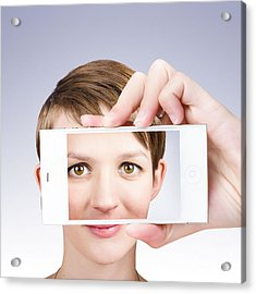 Tech Smart Woman Taking A Photo With Mobile Phone Acrylic Print by Jorgo Photography - Wall Art Gallery