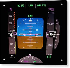 Technology. Aircraft Flight Deck At 37000 Ft. Acrylic Print by Fernando Barozza