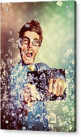 Technology Tablet Man With Creative Breakthrough Acrylic Print by Jorgo Photography - Wall Art Gallery