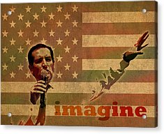 Ted Cruz For President Imagine Speech 2016 Usa Watercolor Portrait On Distressed American Flag Acrylic Print
