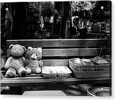 Teddy Bear Lovers On The Bench Acrylic Print