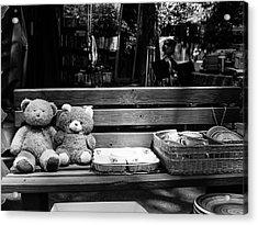 Teddy Bear Lovers On The Bench Acrylic Print by Yoel Koskas