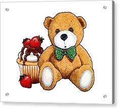 Teddy Bear Party, Bear With Cupcake Acrylic Print