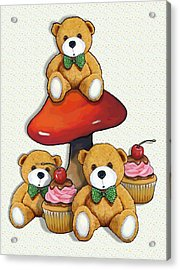 Teddy Bear Party With Toadstool And Cupcakes Acrylic Print