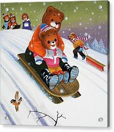 Teddy Bear Sleigh Ride Acrylic Print