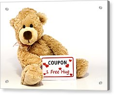 Teddy Bear With Hug Coupon Acrylic Print by Blink Images