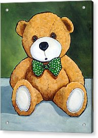Teddy Bear With Polka Dotted Bow Tie Acrylic Print