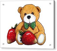 Teddy Bear With Strawberries Acrylic Print