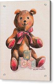 Teddy With Blocks Acrylic Print by Arline Wagner