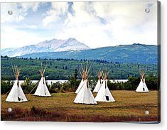 Tee Pee At Glacier Acrylic Print by Marty Koch