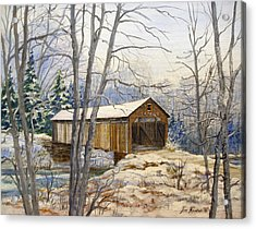 Teegarden Covered Bridge In Winter Acrylic Print by Lois Mountz
