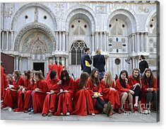 Teenager Girls From A Uk Choral Group Waiting Outside St Mark Basilica In Venice Acrylic Print by Sami Sarkis