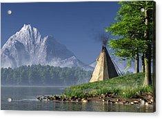 Acrylic Print featuring the digital art Teepee By A Lake by Daniel Eskridge
