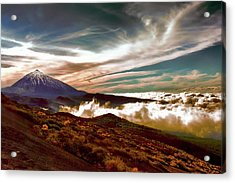 Teide Volcano - Rolling Sea Of Clouds At Sunset Acrylic Print by Menega Sabidussi