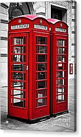 Telephone Boxes In London Acrylic Print by Elena Elisseeva