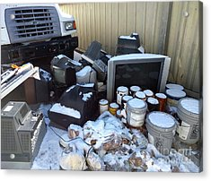 Televisions Paint Donated Potatoes  Acrylic Print by Steven Digman