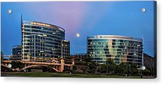 Acrylic Print featuring the photograph Tempe Town Lake Moon Rise by Dave Dilli