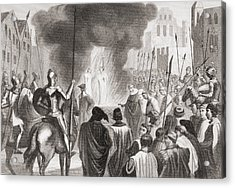 Templars Being Burnt At The Stake. From Acrylic Print