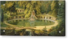Temple Fountain And Cave In Sezincote Park Acrylic Print by Thomas Daniell