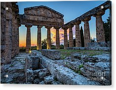 Temple Of Athena By Night Acrylic Print by Inge Johnsson