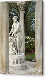 Temple Of Love Statue At The Rose Garden Of The Huntington Libra Acrylic Print by Jamie Pham