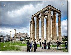 Temple Of Zeus And Acropolis - Athens Greece 2 Acrylic Print by Debra Martz