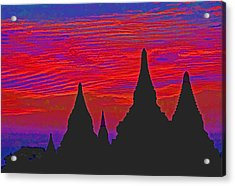 Temple Silhouettes Acrylic Print by Dennis Cox