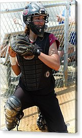 Temple University Bullpen Catcher Acrylic Print by Mike Martin