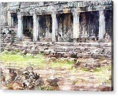 Temples At Angkor Acrylic Print by Shirley Stalter