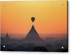 temples in Bagan with hot air balloon for traval on sun rise and Acrylic Print by Anek Suwannaphoom