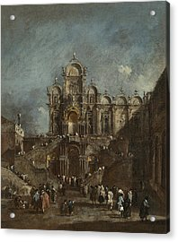 Temporary Tribune In The Campo San Zanipolo - Venice Acrylic Print by Francesco Guardi