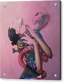 Acrylic Print featuring the painting Temptation by Obie Platon