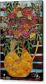 Ten Roses On A Bench Acrylic Print by Cornelia Tersanszki