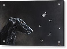 Acrylic Print featuring the drawing Tender Is The Night by Elena Kolotusha