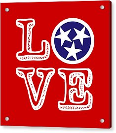 Acrylic Print featuring the digital art Tennessee Flag Love by Heather Applegate