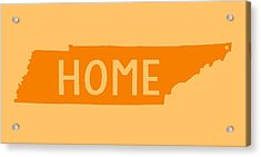 Acrylic Print featuring the digital art Tennessee Home Orange by Heather Applegate