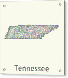 Tennessee Line Art Map Acrylic Print by David Zydd
