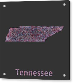 Tennessee Map Acrylic Print by David Zydd