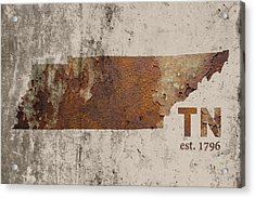 Tennessee State Map Industrial Rusted Metal On Cement Wall With Founding Date Series 030 Acrylic Print by Design Turnpike