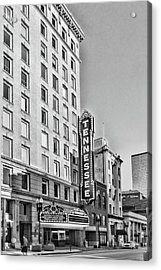 Tennessee Theatre Marquee Building Black And White Acrylic Print