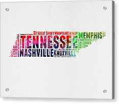 Tennessee Watercolor Word Cloud Map  Acrylic Print by Naxart Studio