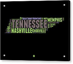 Tennessee Word Cloud Map 1 Acrylic Print by Naxart Studio