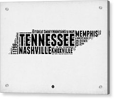 Tennessee Word Cloud Map 2 Acrylic Print