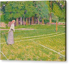 Tennis At Hertingfordbury Acrylic Print by Spencer Frederick Gore