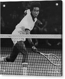 Tennis Great, Arthur Ashe, Returns The Ball At The Atp Worls Tour Finals In 1979. Acrylic Print by Bob Olen