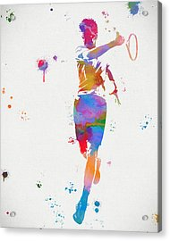 Tennis Player Paint Splatter Acrylic Print by Dan Sproul