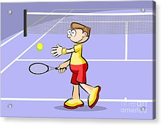 Tennis Player Prepares To Make A Serve Acrylic Print