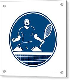 Tennis Player Racquet Fist Pump Icon Acrylic Print by Aloysius Patrimonio